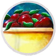 Yellow Bowl Of Apples Round Beach Towel