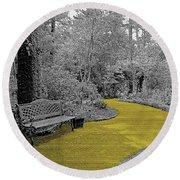 Yellow Brick Gardens Walkway Round Beach Towel