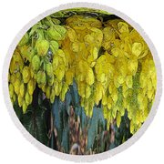 Yellow Buds Round Beach Towel
