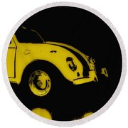 Yellow Bug Round Beach Towel