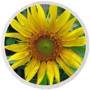 Yellow Burst Round Beach Towel