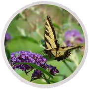 Yellow Butterfly On Purple Round Beach Towel