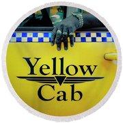 Yellow Cab Round Beach Towel