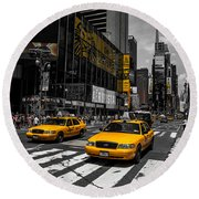 Yellow Cabs Cruisin On The Times Square  Round Beach Towel