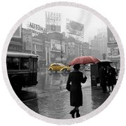 Yellow Cabs New York 2 Round Beach Towel