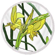 Yellow Canna Lilies Round Beach Towel