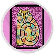 Round Beach Towel featuring the painting Yellow Cat by Jim Harris