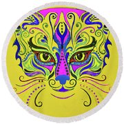 Yellow Cat Round Beach Towel