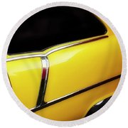 Yellow Chev Round Beach Towel by Jerry Golab