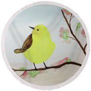 Yellow Chickadee On A Branch Round Beach Towel