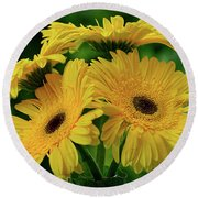 Round Beach Towel featuring the photograph Yellow Chrysanthemums By Kaye Menner by Kaye Menner