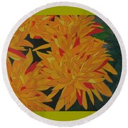 Yellow Chrysanthemums Round Beach Towel by Hilda and Jose Garrancho