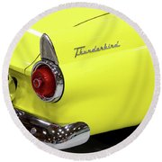 Yellow Classic Thunderbird Car Round Beach Towel