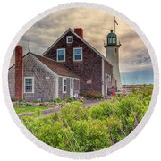 Yellow Clouds Over Scituate Lighthouse Round Beach Towel