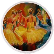 Yellow Costumes Round Beach Towel by Khalid Saeed