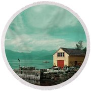 Yellow Cottage Round Beach Towel