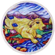 Yellow Cow Jumps The Creek Round Beach Towel