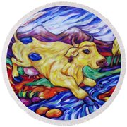 Round Beach Towel featuring the painting Yellow Cow Jumps The Creek by Dianne  Connolly
