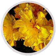 Round Beach Towel featuring the photograph Yellow Daffodils 4 by Jean Bernard Roussilhe