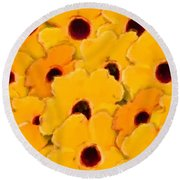 Yellow Daisy Flowers Round Beach Towel