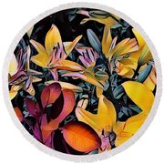 Yellow Daylilies Round Beach Towel by Kathie Chicoine