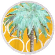 Yellow Delilah Palm Round Beach Towel