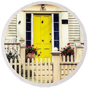 Round Beach Towel featuring the photograph Yellow Door by Kendall McKernon