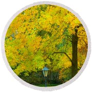 Yellow Drapes Round Beach Towel