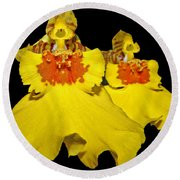Round Beach Towel featuring the photograph Yellow Dresses by Judy Vincent