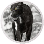 Yellow Eyes Round Beach Towel