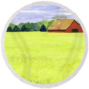 Yellow Field Round Beach Towel by Anne Marie Brown