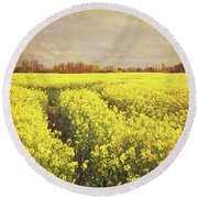 Yellow Field Round Beach Towel by Lyn Randle