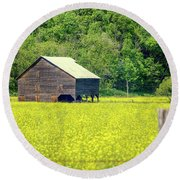 Yellow Field Rustic Shed Round Beach Towel