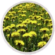 Yellow Field Two  Round Beach Towel by Lyle Crump