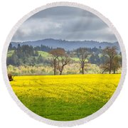 Yellow Fields Along The Eel River Round Beach Towel by Mark Alder