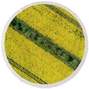 Yellow Fileds Patterns Round Beach Towel