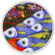 Yellow Fins Round Beach Towel
