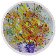 Yellow Florwers Round Beach Towel