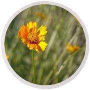 Yellow Flower Round Beach Towel