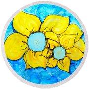 Yellow Flowers   Round Beach Towel