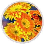 Yellow Flowers In Thick Paint Round Beach Towel