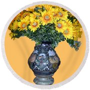 Round Beach Towel featuring the photograph Yellow Flowers In Vase by Francesca Mackenney
