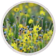Yellow Flowers Round Beach Towel by Kelly Wade