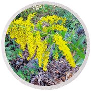 Yellow Flowers On Green Round Beach Towel