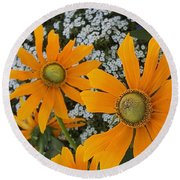 Round Beach Towel featuring the photograph Yellow Flowers Zoom by Jasna Gopic