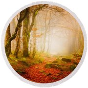 Yellow Forest Mist Round Beach Towel
