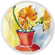 Yellow Gerbera Daisies In A Red And Blue Delft Vase Round Beach Towel