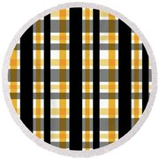 Round Beach Towel featuring the photograph Yellow Gold And Black Plaid Striped Pattern Vrsn 1 by Shelley Neff