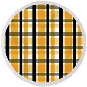 Round Beach Towel featuring the photograph Yellow Gold And Black Plaid Striped Pattern Vrsn 2 by Shelley Neff