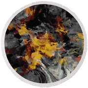 Round Beach Towel featuring the painting Yellow / Golden Abstract / Surrealist Landscape Painting by Ayse Deniz